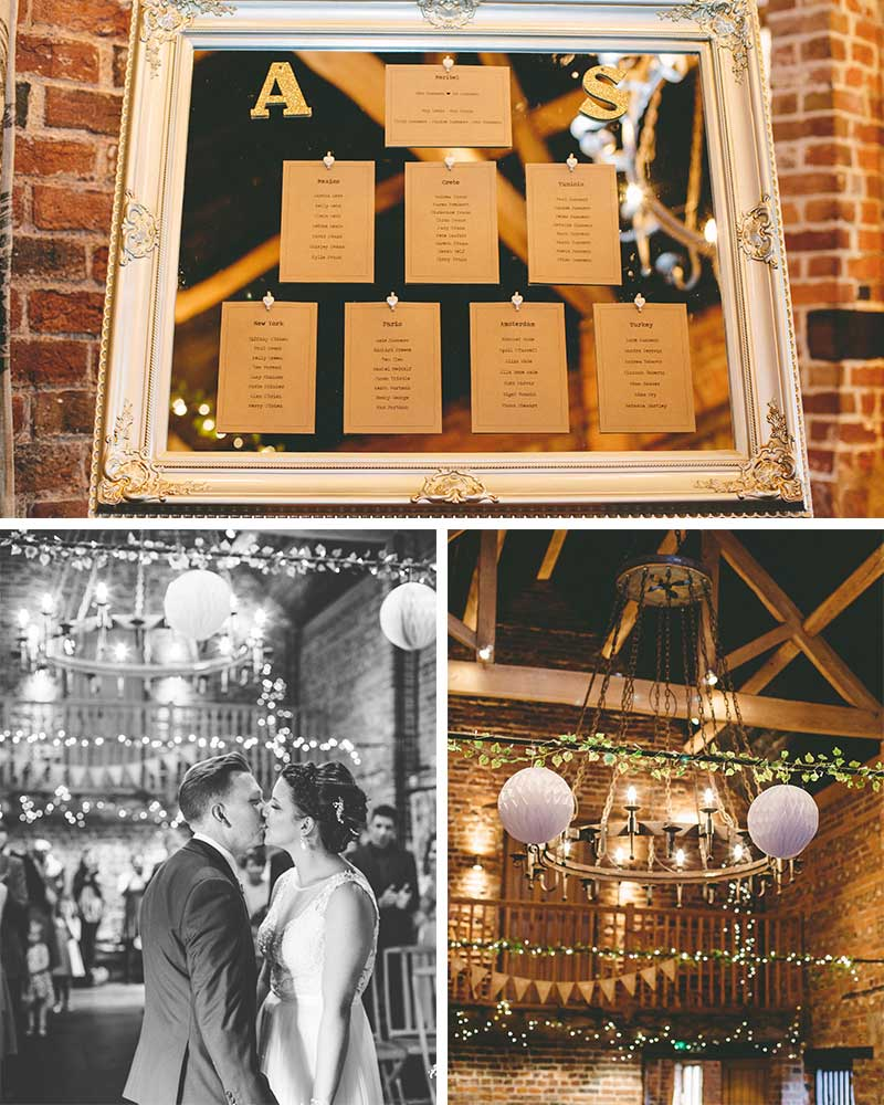 Lilac decorations and country themed table plan