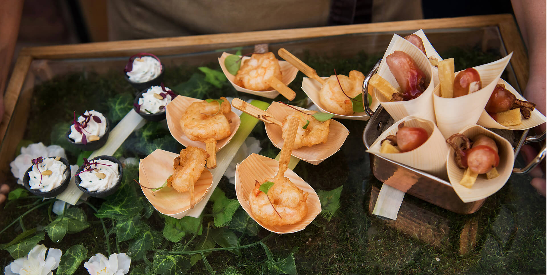 A range of delicious wedding menu items ready for guests to enjoy at Curradine Barns