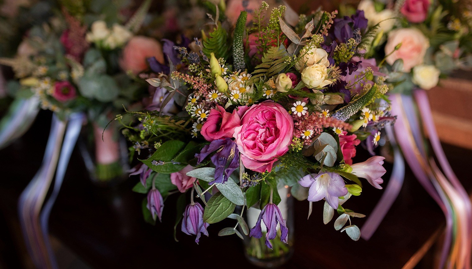 a beautiful bright bouquet at Curradine Barns in Worcestershire