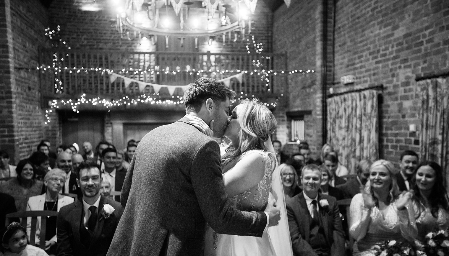 Michelle and James's Festive Winter Wedding at Curradine Barns