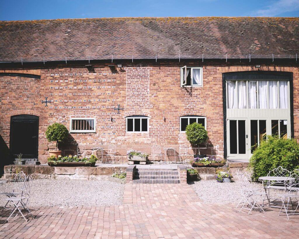curradine barns courtyard in summer