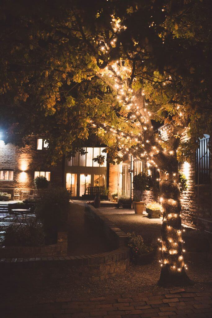 curradine barns courtyard lights on tree in autumn