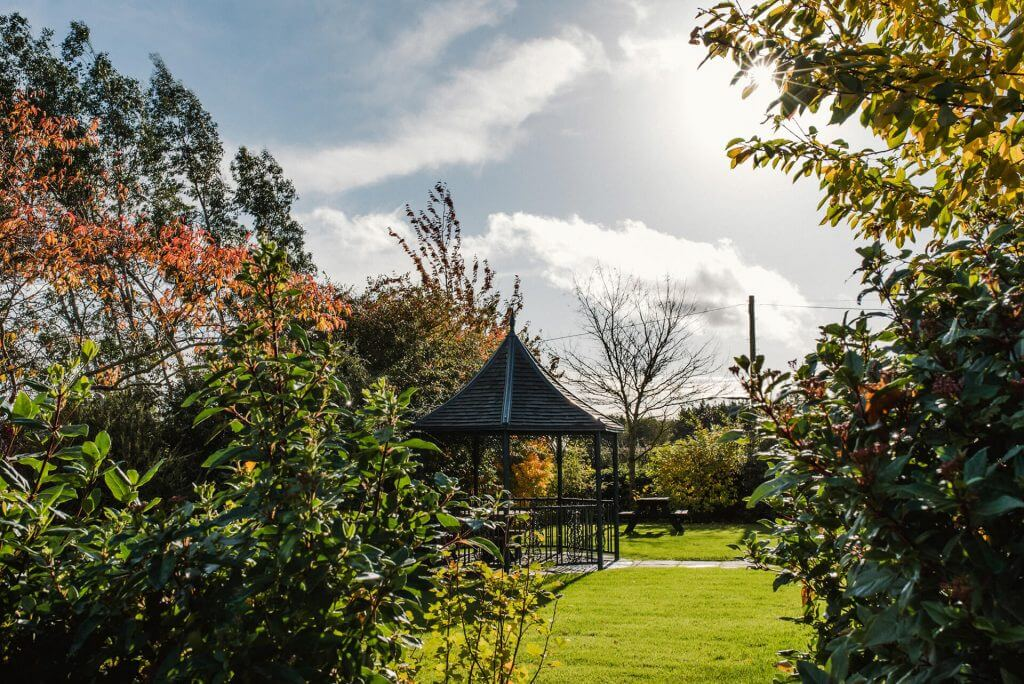 curradine barns garden gazebo in autumn